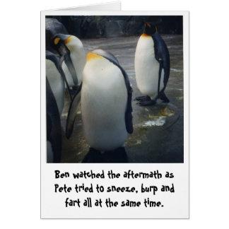 cartão de aniversário dos pinguins