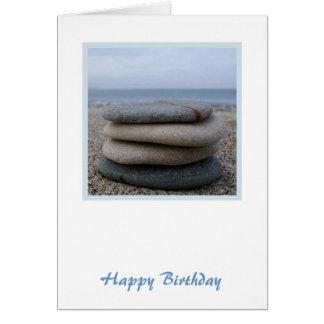 Cartão de aniversário dos seixos do zen