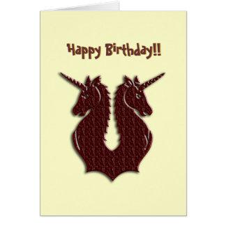 Cartão de aniversário dos unicórnios do chocolate