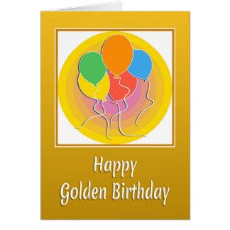 Cartão de aniversário dourado com balões