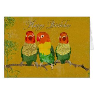 Cartão de aniversário dourado dos pássaros do amor