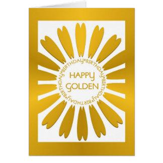 Cartão de aniversário dourado feliz