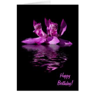 Cartão de aniversário dramático da orquídea