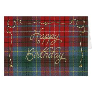 Cartão de aniversário elegante no Tartan do