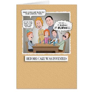 Cartão de aniversário engraçado: Antes do bolo