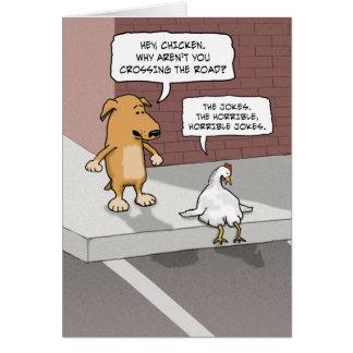 Cartão de aniversário engraçado: Cão e galinha