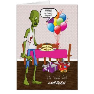 Cartão de aniversário engraçado com o zombi no