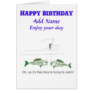 Cartão de aniversário engraçado da pesca com mosca
