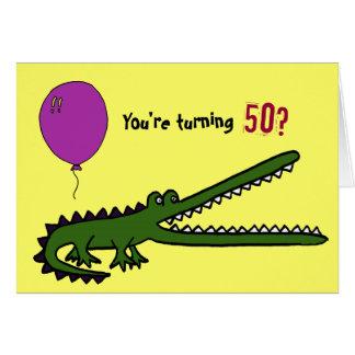 Cartão de aniversário engraçado de Croc pelo 50th