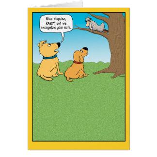Cartão de aniversário engraçado, disfarce do