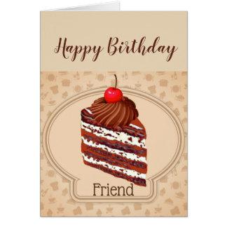Cartão de aniversário engraçado do amigo do bolo