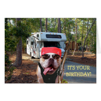 Cartão de aniversário engraçado do campista feliz