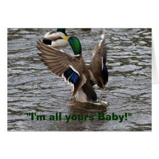 Cartão de aniversário engraçado do pato do pato