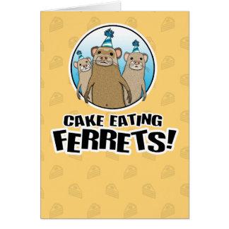 Cartão de aniversário engraçado: Doninhas do bolo