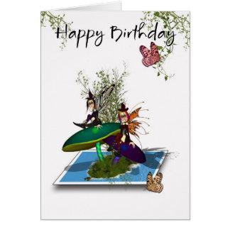 Cartão de aniversário - fadas góticos bonitos que