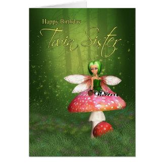 Cartão de aniversário feericamente da irmã gêmea -