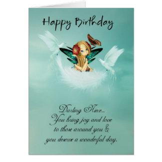 Cartão de aniversário feericamente da sobrinha com
