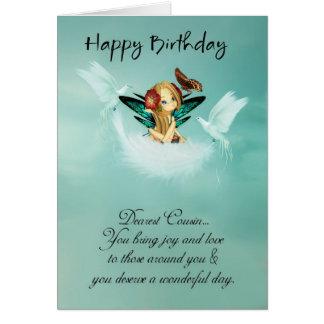 Cartão de aniversário feericamente do primo com po