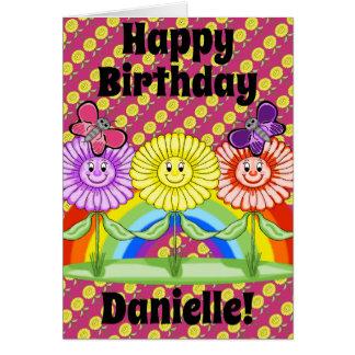 Cartão de aniversário feliz das flores