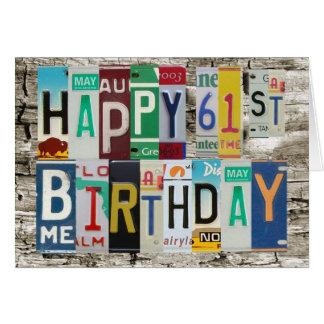Cartão de aniversário feliz das matrículas 61st