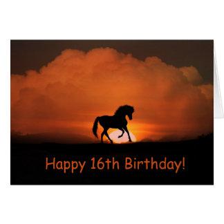 Cartão de aniversário feliz do cavalo 16o