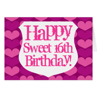 Cartão de aniversário feliz do doce 16 com