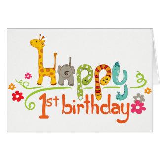 Cartão de aniversário feliz do jardim zoológico