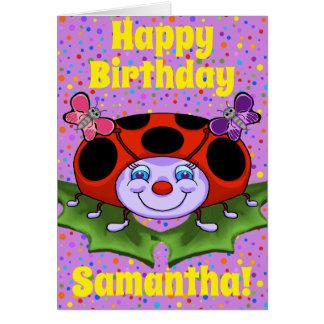 Cartão de aniversário feliz do joaninha