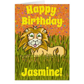 Cartão de aniversário feliz do leão