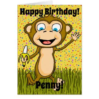 Cartão de aniversário feliz do macaco