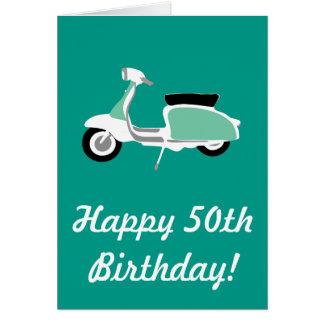Cartão de aniversário feliz do patinete retro 50th