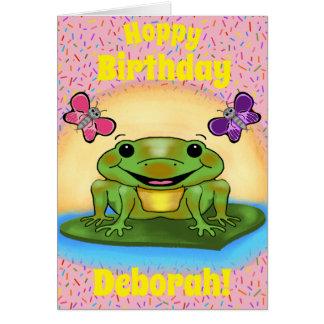 Cartão de aniversário feliz do sapo
