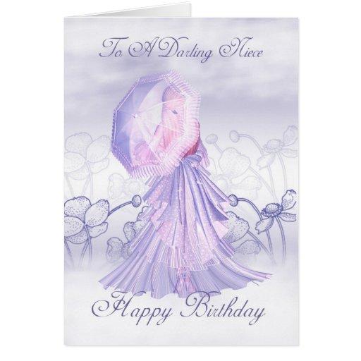 Cartão de aniversário feminino bonito da sobrinha