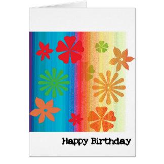 Cartão de aniversário - floral (azul, alaranjados)