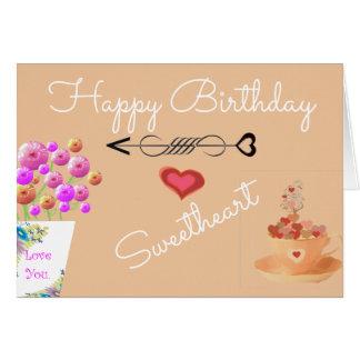 Cartão de aniversário floral cor-de-rosa do chique
