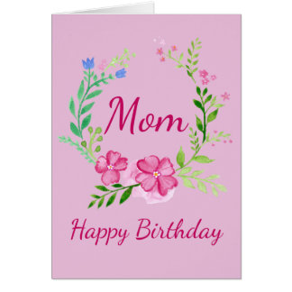 Cartão de aniversário floral cor-de-rosa rosado