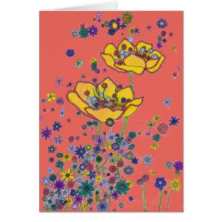 Cartão de aniversário - flores amarelas grandes