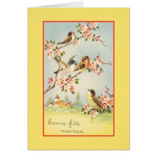 Cartão de aniversário francês da mãe do vintage