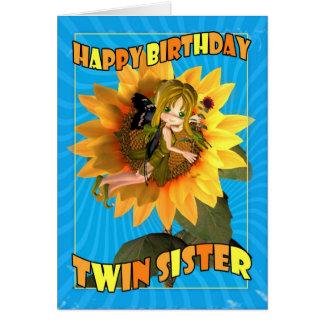 Cartão de aniversário gêmeo da irmã com a torta