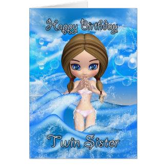 cartão de aniversário gêmeo da irmã - natação da m