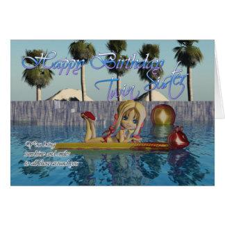 Cartão de aniversário gêmeo da irmã, piscina da to