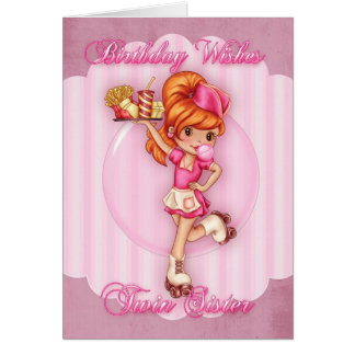 cartão de aniversário gêmeo da irmã - rosa bonito