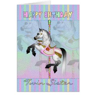 cartão de aniversário gêmeo do carrossel da irmã -