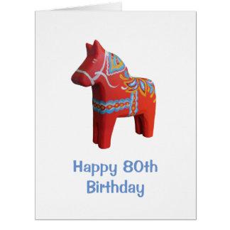 Cartão de aniversário grande do 80 com cavalo de