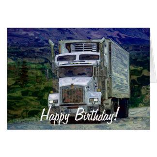 Cartão de aniversário grande do Caminhão-amante do