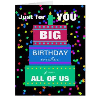 Cartão de aniversário grande do trabalho do grupo