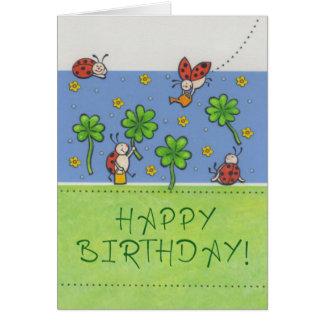 Cartão de aniversário Happy Birthday com trevos