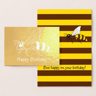 Cartão de aniversário invertido abelha da folha
