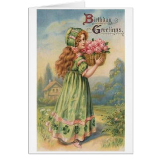 Cartão de aniversário irlandês da menina do