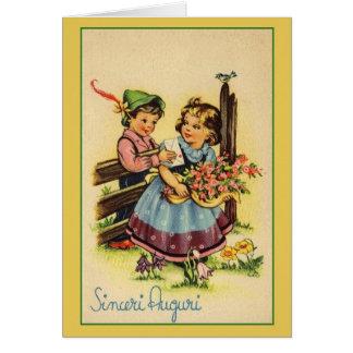 Cartão de aniversário italiano de Sinceri Auguri